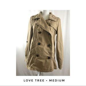 Love Tree Medium Khaki Tan Jacket Spring Buttons